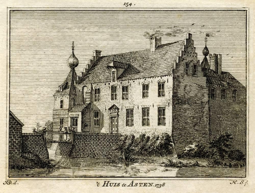 Ru�ne van Asten in Asten. Tekening Jan de Beijer, gravure Hendrik Spilman (Uit: Het Verheerlykt Nederland, Isaac Tirion, 1745/1774)
